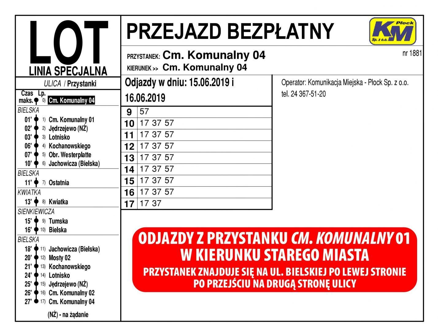 Rozkład jazdy KM Płock